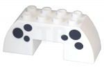 White Duplo, Brick 2 x 6 x 2 Curved with 2 x 2 Cutout on Bottom with Black Spots Pattern